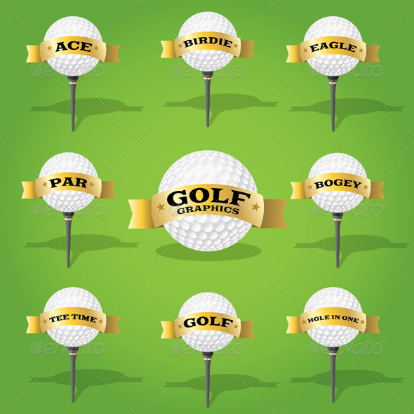 Golf Ball and Banner Design Elements - Sports/Activity Conceptual