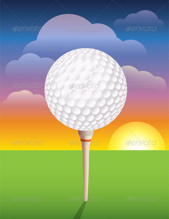 Vector Golf Ball on Tee Background - Sports/Activity Conceptual