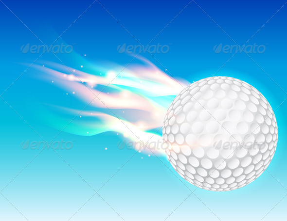 Vector Flaming Golf Ball in Sky - Sports/Activity Conceptual