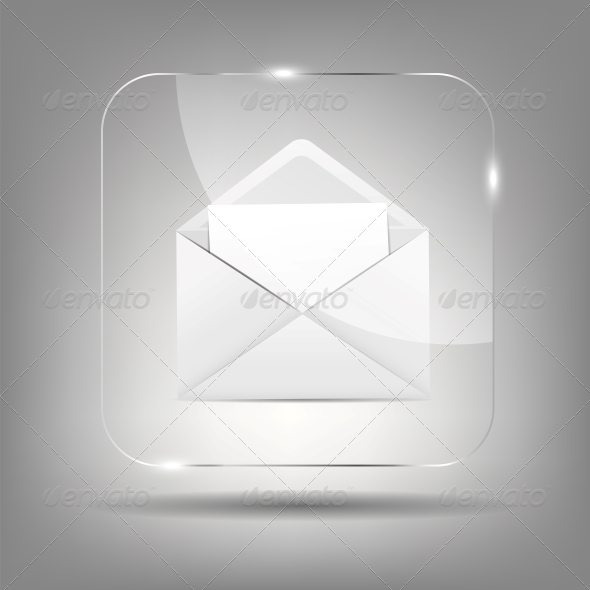 Mail Icon in Glass Button - Valentines Seasons/Holidays