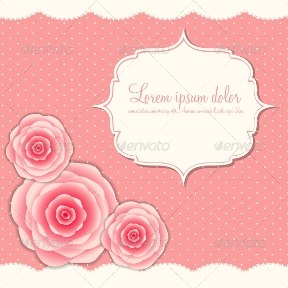 Valentines Day Card with Rose Flowers - Valentines Seasons/Holidays