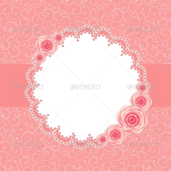 Frame with Rose Flowers - Birthdays Seasons/Holidays