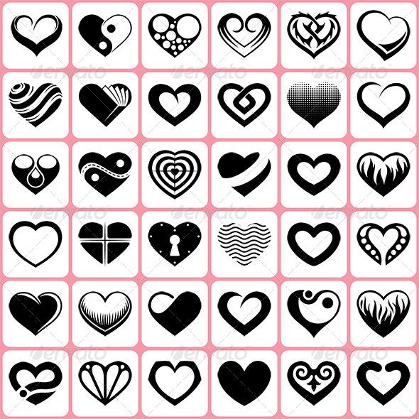 36 Heart Icons Set - Valentines Seasons/Holidays