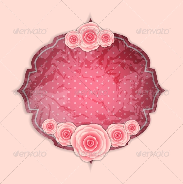 Frame with Rose Flowers - Decorative Symbols Decorative