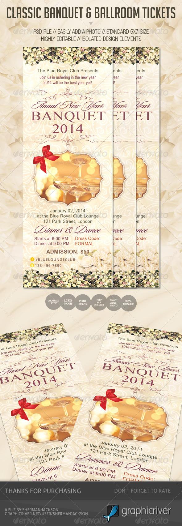 Classic Banquet & Ballroom Tickets - Miscellaneous Print Templates