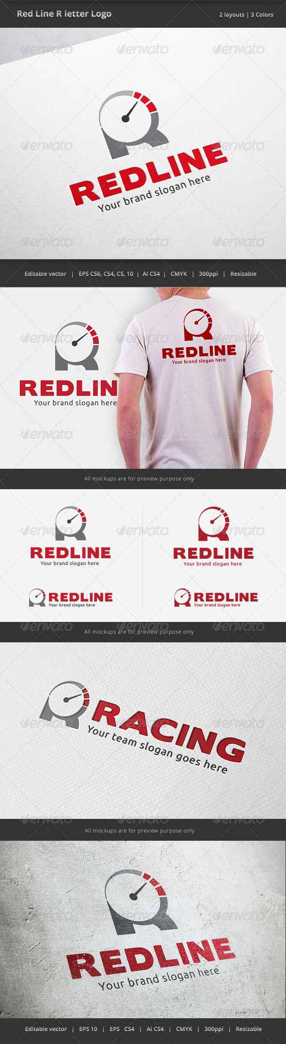 Red Line R Letter Logo - Letters Logo Templates
