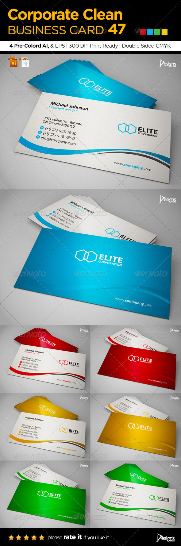 Corporate Clean Business Card 47 - Business Cards Print Templates