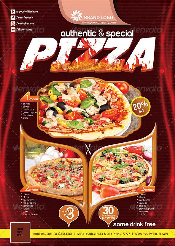 Pizza Flyer  (Print Ready) V2 - Restaurant Flyers