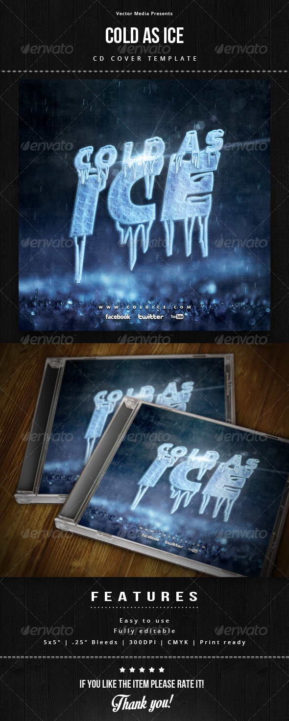 Cold As Ice - Cd Cover - CD & DVD Artwork Print Templates