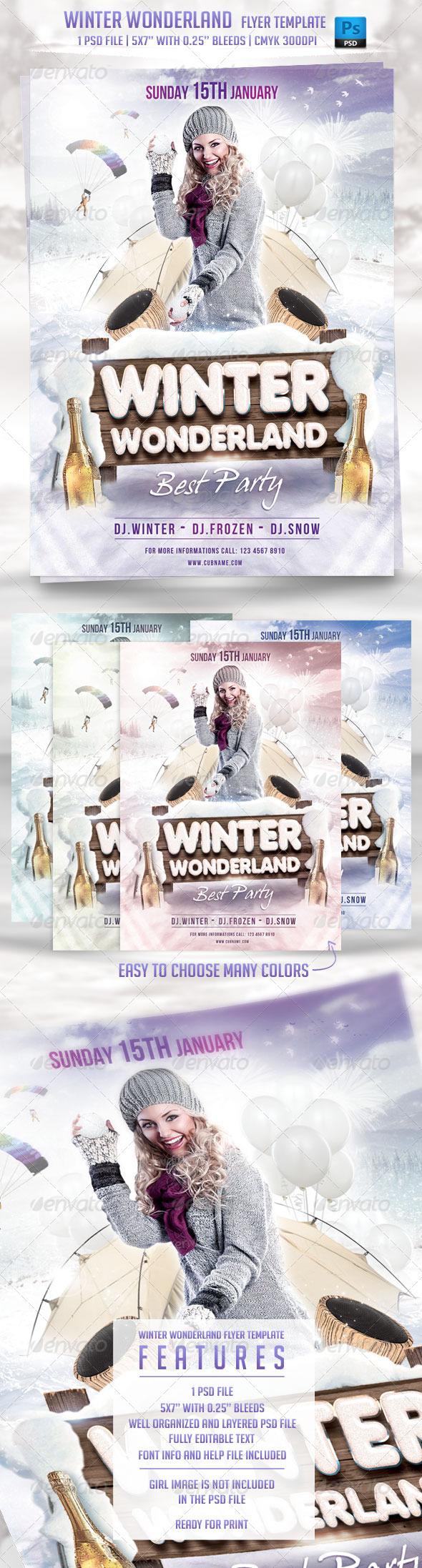 Winter Wonderland Flyer Template - Flyers Print Templates