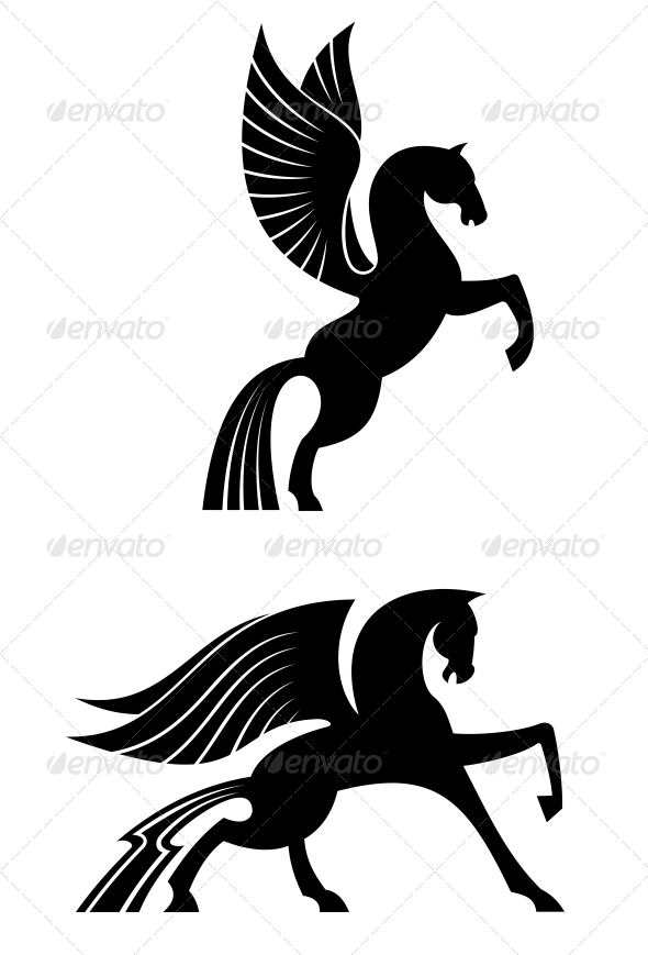 Two Black Winged Horses - Tattoos Vectors