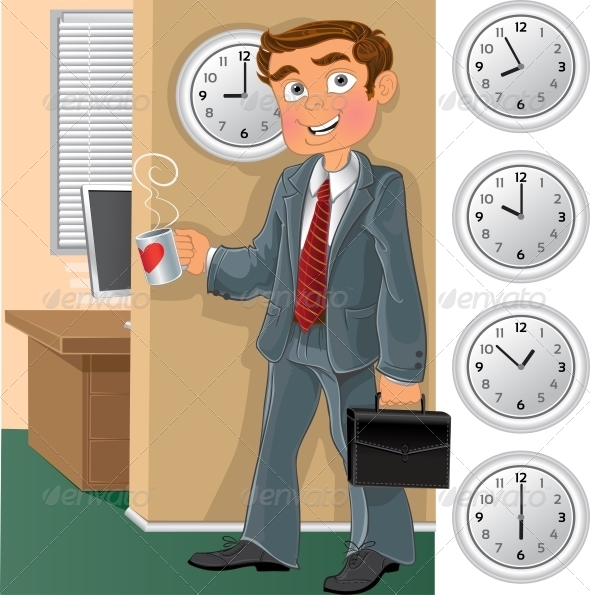 Office Worker with Cup of Tea or Coffee - People Characters