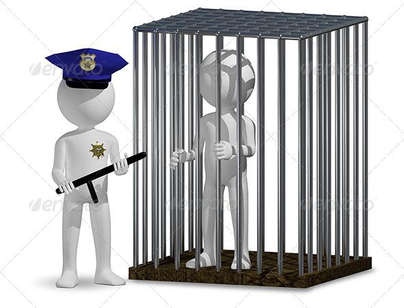 Cop and Prisoner - Characters 3D Renders