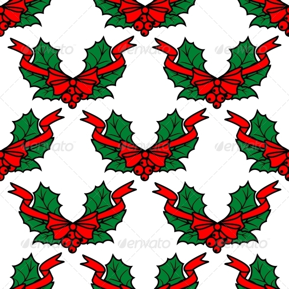 Christmas Holly Seamless Pattern Background - Patterns Decorative