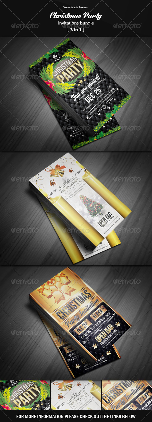Christmas Party - Invitations Bundle - Invitations Cards & Invites