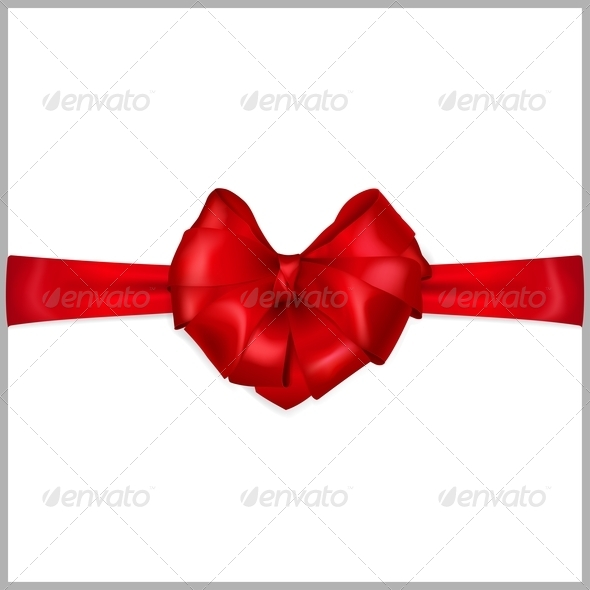 Red Bow Heart Shaped - Decorative Symbols Decorative