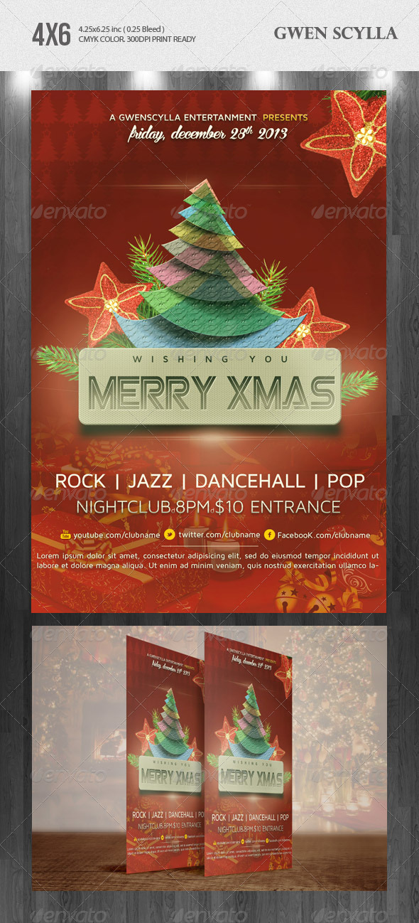 Merry Xmas Nightclub Psd Flyer Template - Holidays Events