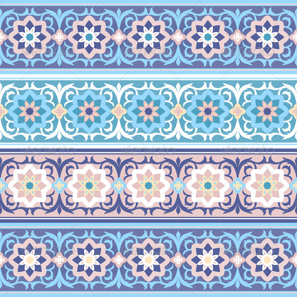 Vector Seamless Traditional Muslim Floral Ornament - Patterns Decorative