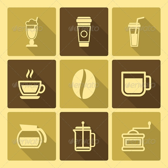 Coffee Drinks Icons With Long Shadow - Food Objects