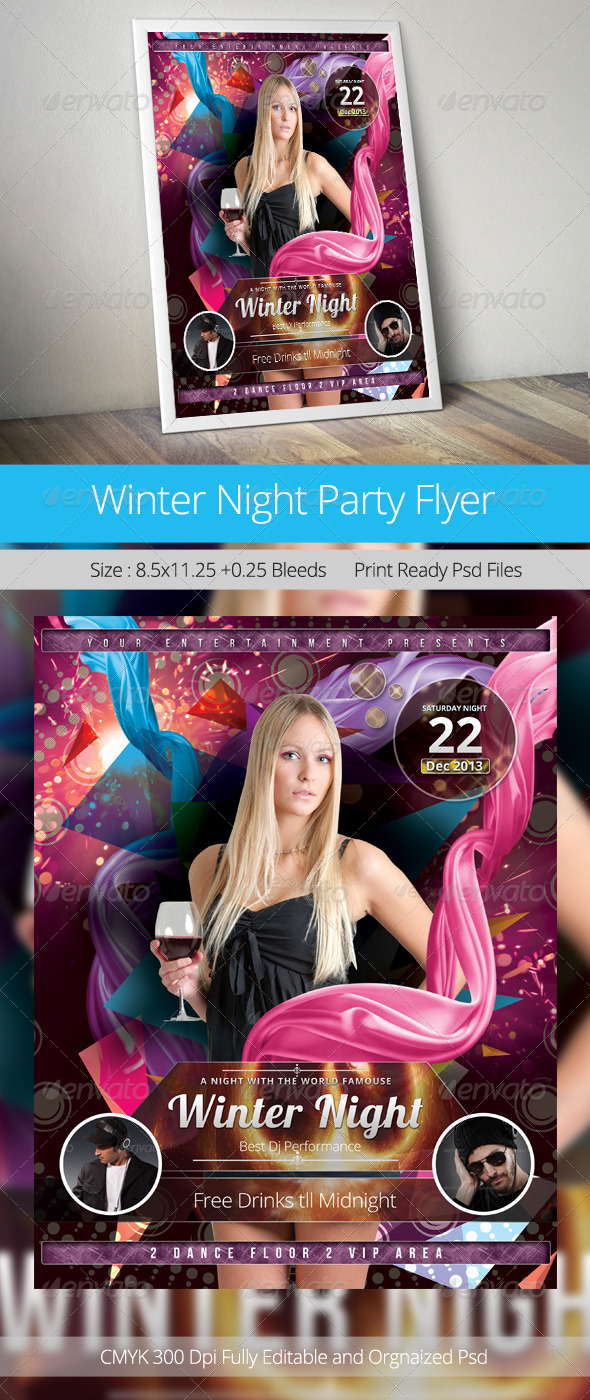 Winter Night Party Flyer Template - Clubs & Parties Events