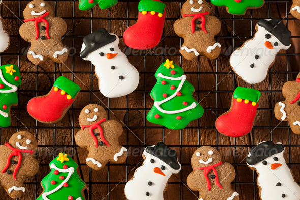 Traditional Iced Gingerbread Christmas Cookies - Stock Photo - Images