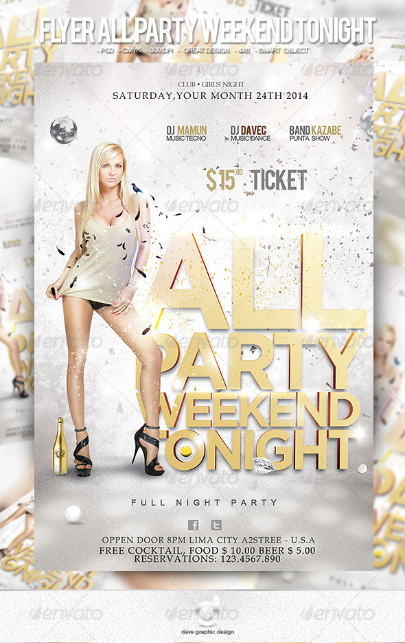 Flyer All Party Weekend Tonight - Clubs & Parties Events