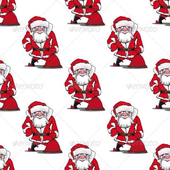 Seamless Pattern with Cartoon Santa Claus - Christmas Seasons/Holidays