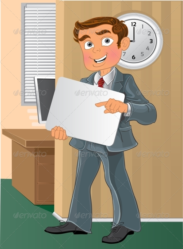 Office Worker with Text Background in Office - People Characters