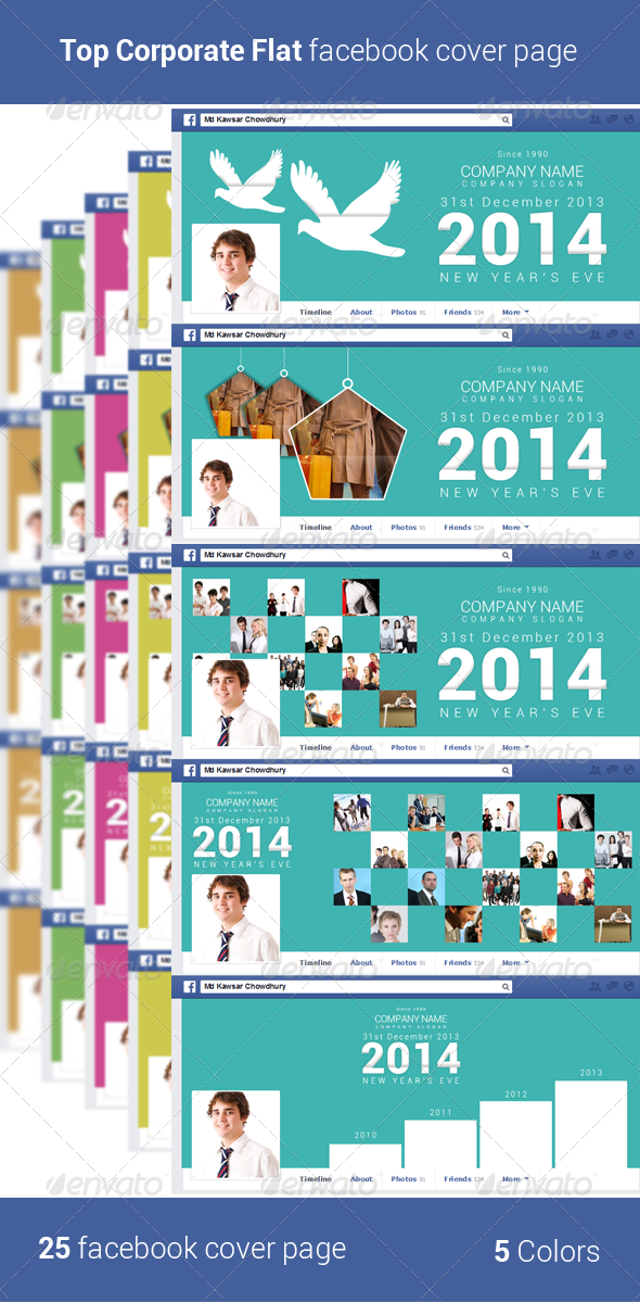 Top Corporate Flat Facebook Cover Page - Social Media Web Elements