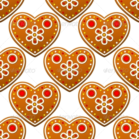 Gingerbread Cookies Seamless Pattern with Hearts - Patterns Decorative
