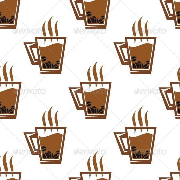 Seamless Pattern Background with Coffee Cups - Patterns Decorative