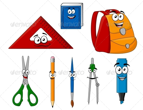 School Supplies and Objects in Cartoon Style - Miscellaneous Characters