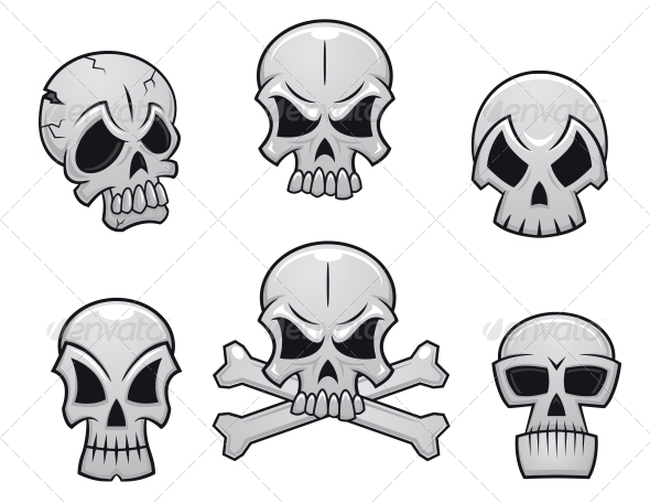 Cartoon Skulls Set - Halloween Seasons/Holidays