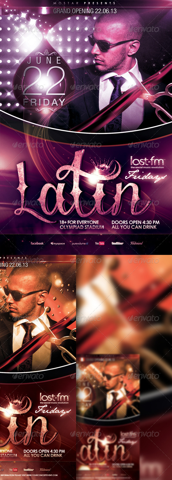 Latin Event Flyer Template - Clubs & Parties Events