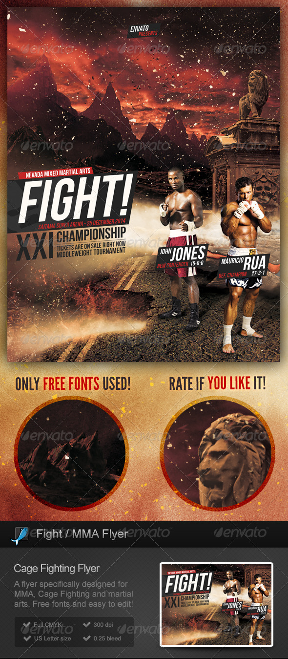 cage fighting mma flyer by stormdesigns graphicriver. Black Bedroom Furniture Sets. Home Design Ideas