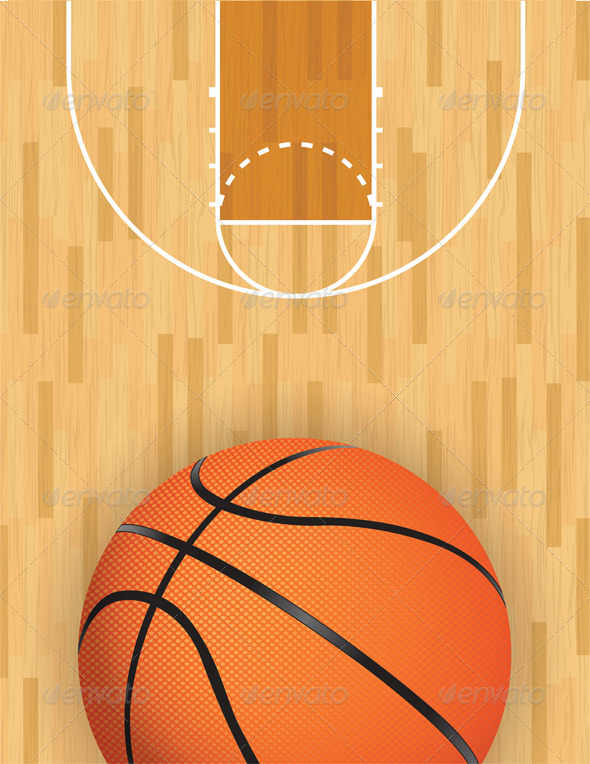 Vector Basketball and Hardwood Court - Sports/Activity Conceptual