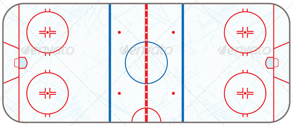 Vector Ice Hockey Rink with Skate Marks - Sports/Activity Conceptual