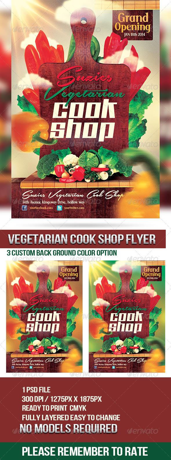 Vegetarian Cook Shop Promotional Flyer - Restaurant Flyers