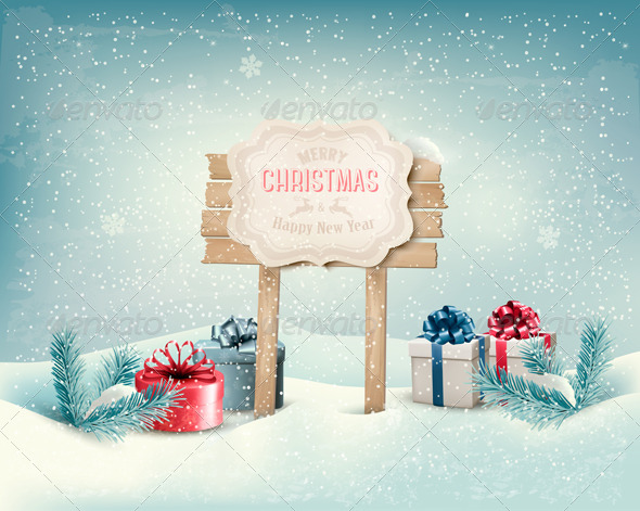 Christmas Winter Background with Presents.  - Christmas Seasons/Holidays