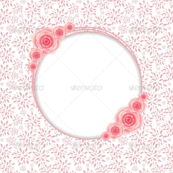 Frame with Rose Flowers  Vector Illustration - Decorative Symbols Decorative