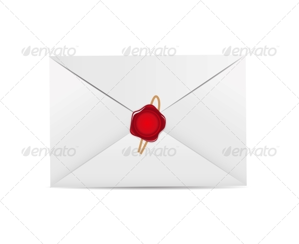 White Envelope Icon with Wax Seal Vector - Valentines Seasons/Holidays