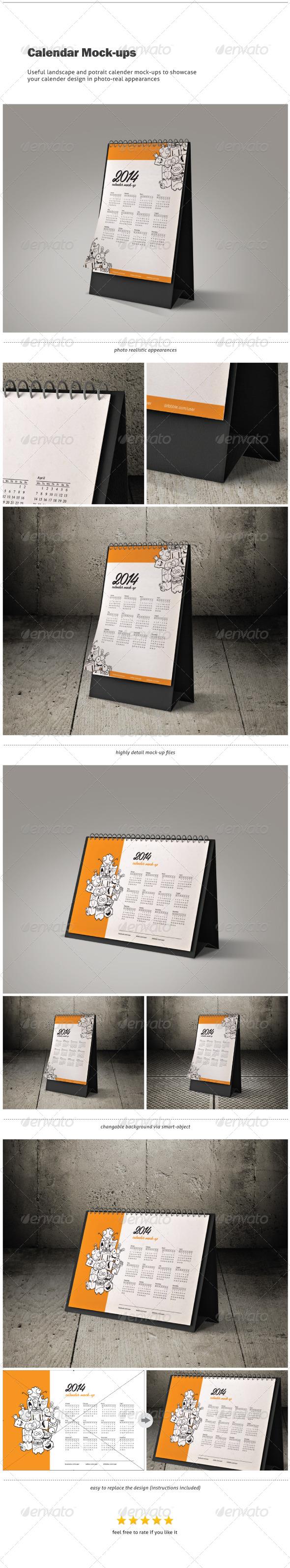 Calendar Mock-ups / Landscape and Portrait - Print Product Mock-Ups