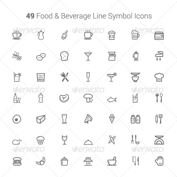 49 Food and Beverage Line Symbol Icons - Food Objects