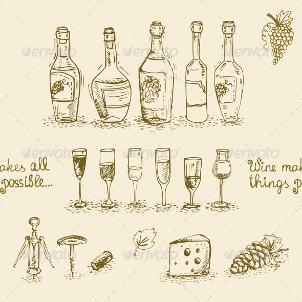 Set of Wine Bottles and Glasses - Decorative Symbols Decorative