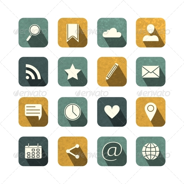 Vintage Social Media Icons Set - Media Icons