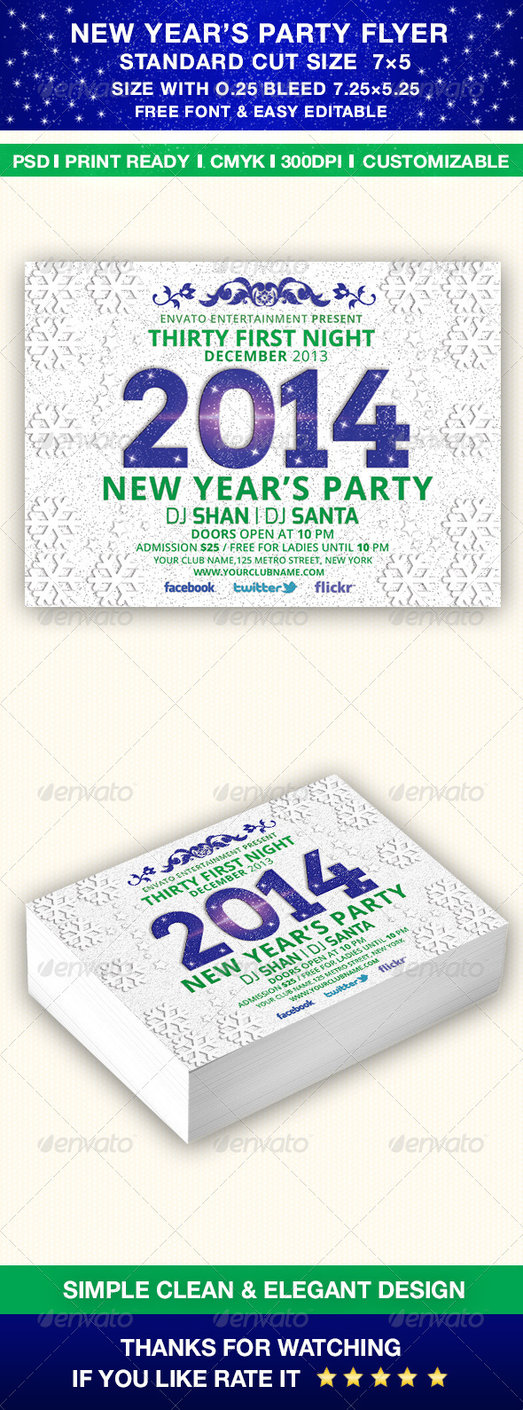 New Year's 2014 Party Flyer Template - Holidays Events