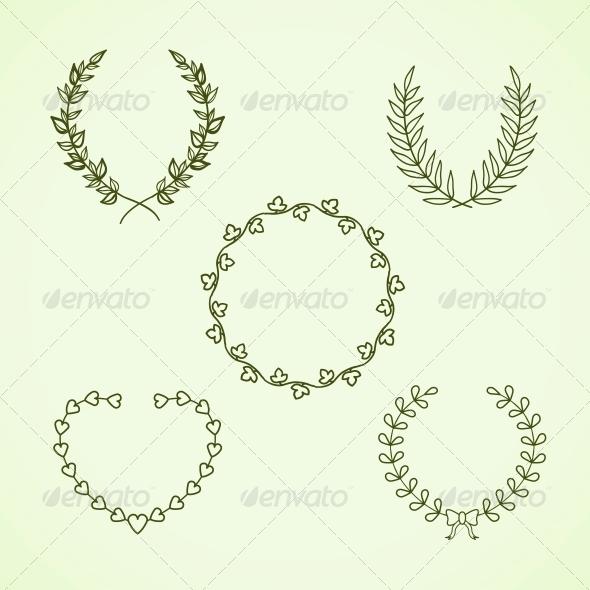 Retro Calligraphic Wreath - Borders Decorative