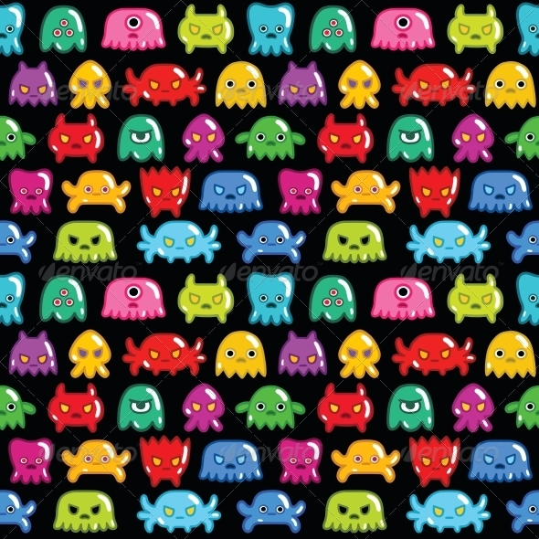 Seamless Monsters Pattern - Backgrounds Decorative