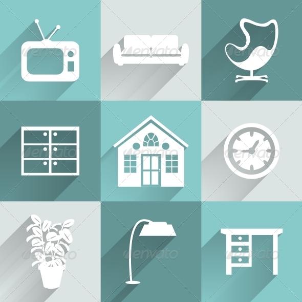 Interior Furniture Icons Set - Web Elements Vectors