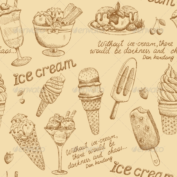 Ice Cream Vintage Pattern - Backgrounds Decorative